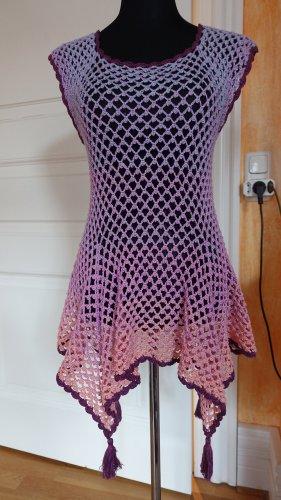 Handarbeit Top en maille crochet abricot-violet coton