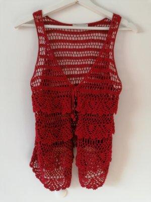 Promod Crochet Cardigan dark red-carmine