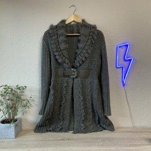 Bose Belxing Szydełkowany sweter szaro-brązowy-taupe