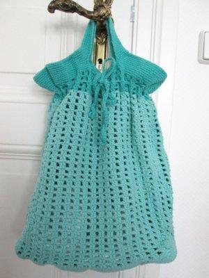 Sac seau vert menthe-turquoise coton