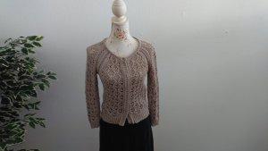 NKD Crochet Cardigan light brown cotton