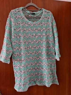 Colours of the World Knitted Sweater light grey-turquoise