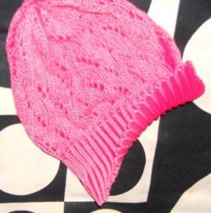 Bonnet en crochet saumon-magenta coton