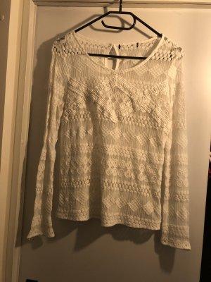 Reserved Top en maille crochet beige clair