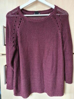 H&M Szydełkowany sweter czerwona jeżyna