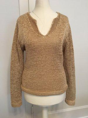 Crochet Sweater gold orange-pale yellow