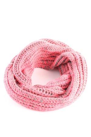 Écharpe en crochet rose-gris clair moucheté style décontracté