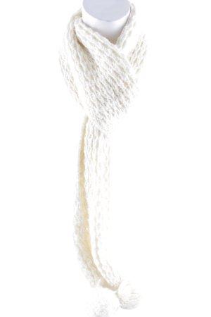 Sciarpa all'uncinetto bianco sporco modello web pompon
