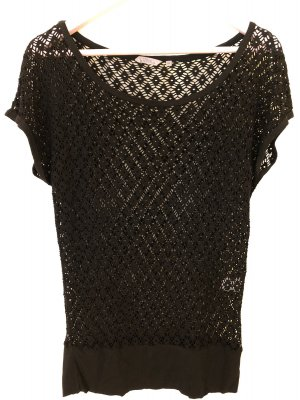 17&co Crochet Shirt black