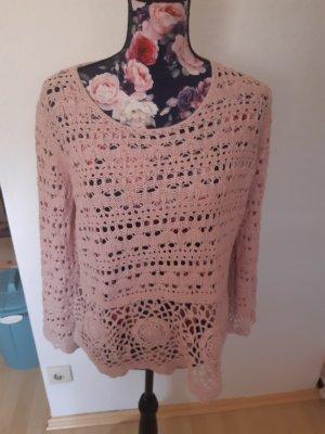 Linea Tesini Top en maille crochet vieux rose