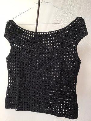 Comma Top en maille crochet noir
