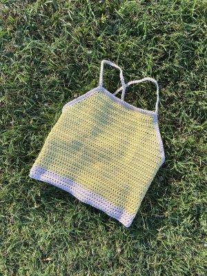 Handgefertigt Crochet Top pale yellow-light pink cotton