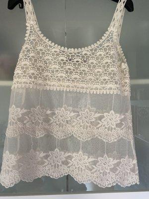 Zara Trafaluc Haut en crochet blanc cassé-crème