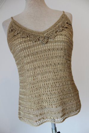 Amaranto Crochet Top gold-colored-sand brown