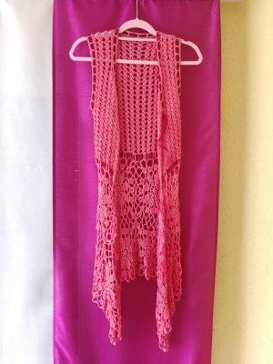 Long Knitted Vest salmon