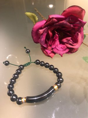 Pearl Bracelet anthracite-gold-colored