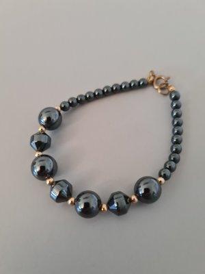 Vintage Brazalete de perlas gris oscuro-color oro