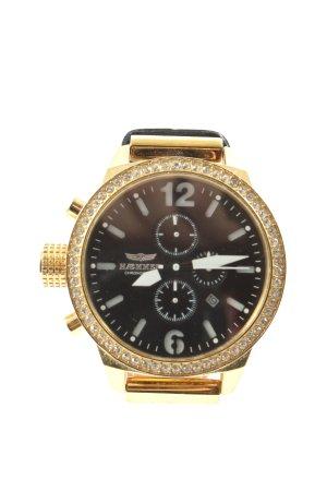 haemmer Zegarek ze skórzanym paskiem czarny-złoto W stylu casual