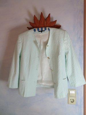 Hämmerle Sport Streifen Blazer - Gr. 38 -  Crop Maritim Kurz Blazer - Mint Weiß Gestreifte Sommer Jacke - Baumwolle - Goldknopf Jacke