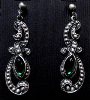 Pendientes colgante verde-color plata