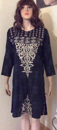 Sukienka boho czarny-piaskowy brąz Bawełna