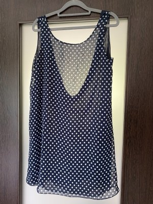 Unbekannte Marke Chiffon jurk donkerblauw-wit