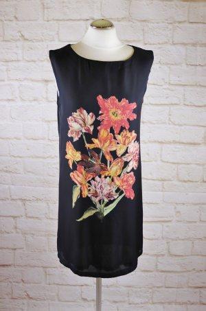 Hängerchen Minikleid Top Kleid Mango Suit Größe M 38 Schwarz 3d Druck Blumen Nelken Grün Orange Rot Satin Jersey Long Tunika Shirt