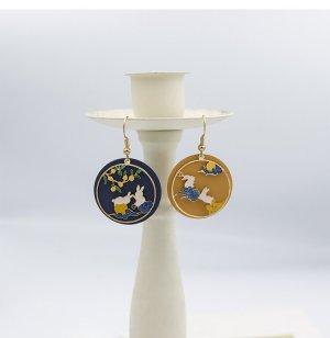 Häschen Kreis Anhänger vintage retro Ohrringe Hacken dunkel blau und Gelb