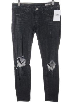 haikure Skinny Jeans anthrazit Lederelemente