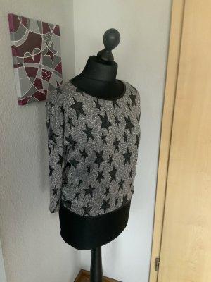Hailys Damen Shirt 3/4 Arm grau schwarz mit Sternen
