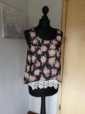 Hailys Damen Top Schwarz Blumen Muster rosa Größe S XS mit Spitze