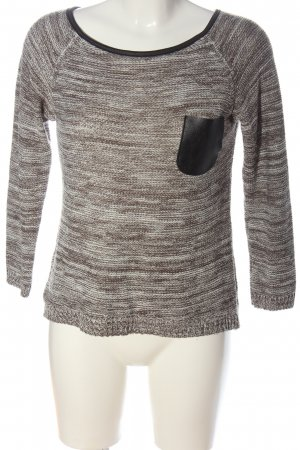 Hailys Pullover all'uncinetto grigio chiaro-marrone stampa integrale