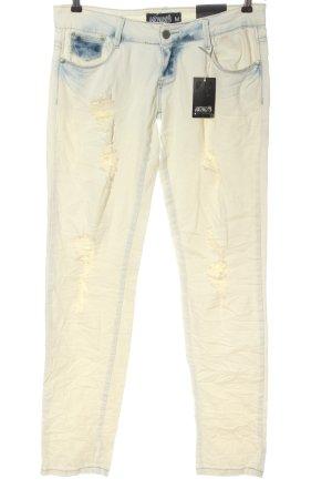 Hailys Jeans vita bassa bianco sporco stile casual
