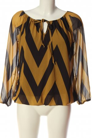 Hailys Langarm-Bluse schwarz-hellorange Streifenmuster Elegant