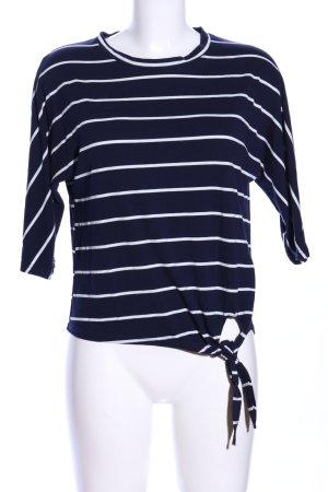 Hailys Koszulka w paski niebieski-biały Wzór w paski W stylu casual