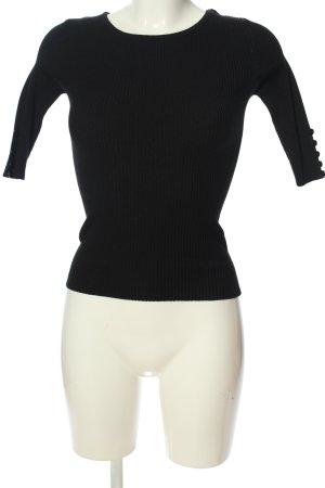 Hailys Geribd shirt zwart casual uitstraling