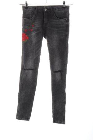 Hailys Skinny Jeans hellgrau Blumenmuster Casual-Look