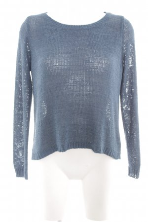 Hailys Strickpullover blau Zopfmuster Casual-Look
