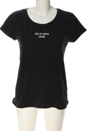 Hailys T-Shirt schwarz-weiß Schriftzug gedruckt Casual-Look