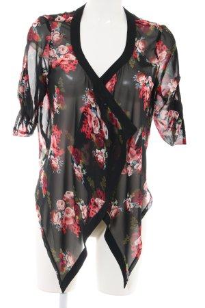 Hailys Transparenz-Bluse schwarz-rot Blumenmuster Elegant