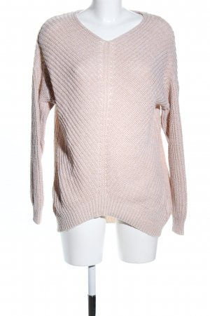 Hailys V-Ausschnitt-Pullover creme Zopfmuster Business-Look