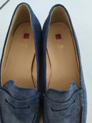 Högl Chaussures bateau bleu acier cuir