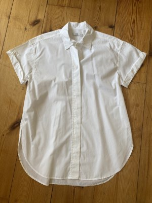 Closed Short Sleeved Blouse white cotton