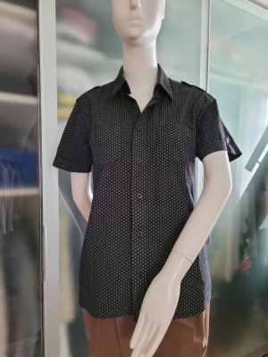 Camisa de manga corta azul oscuro-verde hierba Algodón
