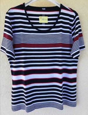 Halbarm-Shirt mit marine-weiß-roten Streifen