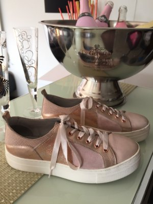Halbschuh Sneaker Schnürschuh Plateau rosa gold Gr. 39 Sehr gepflegt