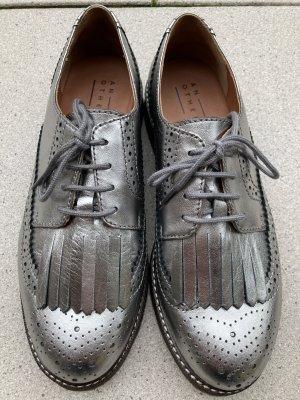 Another A Sznurowane buty brąz-srebrny Skóra