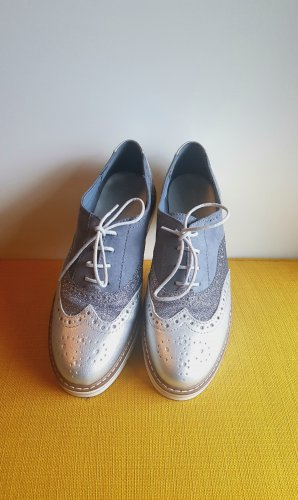 Graceland Zapatos brogue color plata-azul