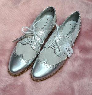 Marco Tozzi Zapatos brogue color plata-gris claro