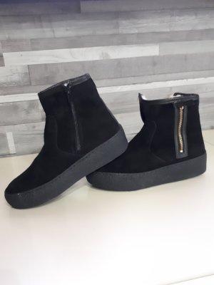 Bottines plissées noir cuir